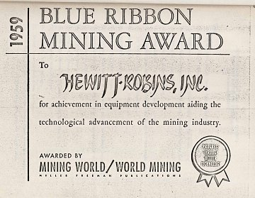 1959 Blue Ribbon Mining Award - Hewitt Robins